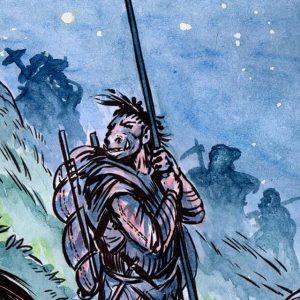 troll warrior leans on a spear