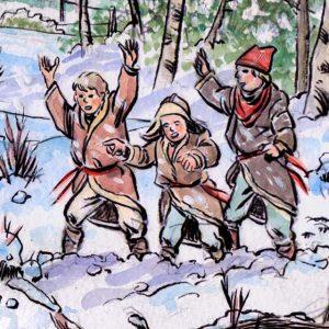 Children cheer, dressed for winter