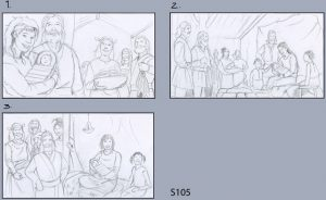 three alternate thumbnail sketches