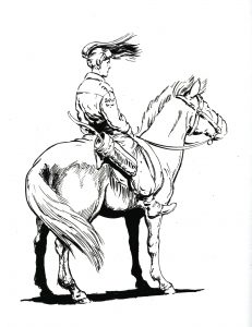 rider on horse, her hair blowing in the wind