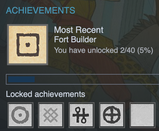"Achievements screen shot: ""Most Recent Fort builder"""